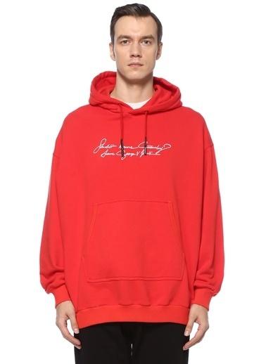 Givenchy Givenchy 101548201 Pamuk Kapüşonlu Slogan Baskılı Kanguru Cepli Erkek Sweatshirt Kırmızı
